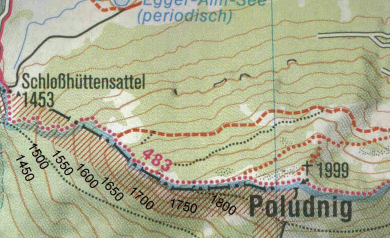 wandelkaart hoogtelijnen