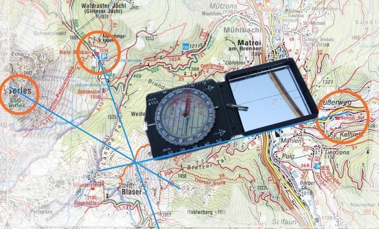 positie bepalen met het kompas
