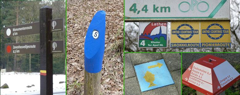 wandelroute markeringen en wegwijzers in Nederland