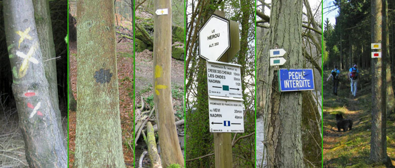 wandelroute markeringen en wegwijzers in België