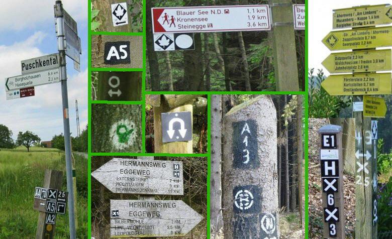 wandelroute markeringen en wegwijzers in Duitsland