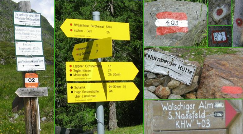 wandelroute markeringen en wegwijzers in Oostenrijk