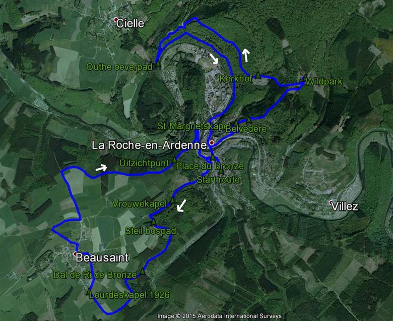 routekaart rondwandeling La Roche-en-Ardenne