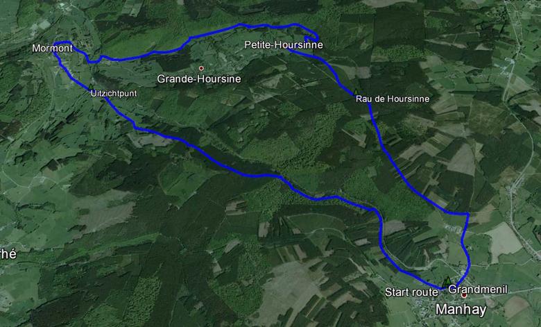 routekaart rondwandeling Manhay Grandmenil via Mormont