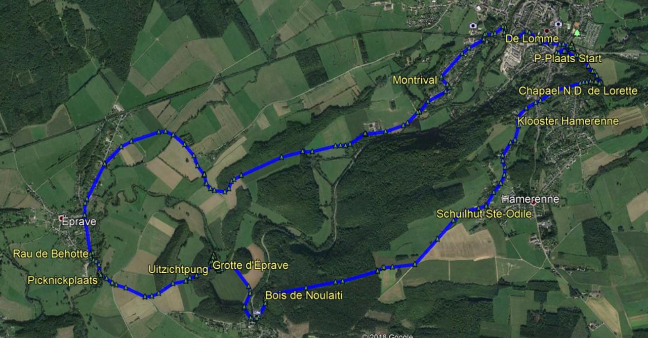 routekaart rondwandeling Rochefort Éprave