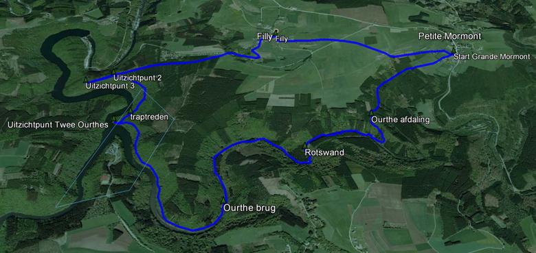 routekaart rondwandeling De Twee Ourthes Ardennen