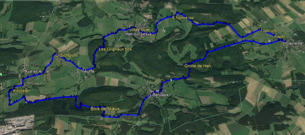 routekaart rondwandeling Han Sur Lesse Ardennen