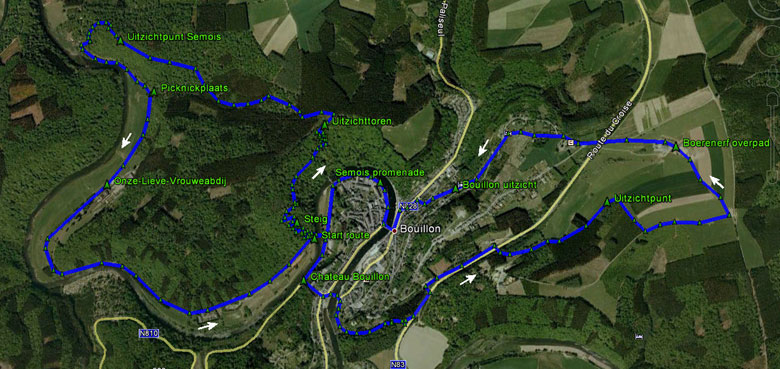 routekaart rondwandeling Bouillon