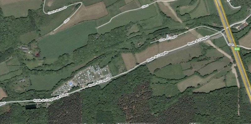 Situatiekaart: bovenaanzicht camping Domain Polleur vlak bij de A27