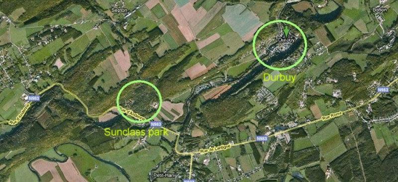 Situatiekaart: Het bungalowpark op loopafstand van het toeristische dorpje Durbuy