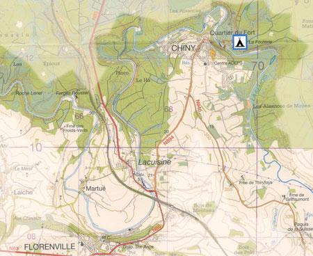 kaart Florenville - Chiny