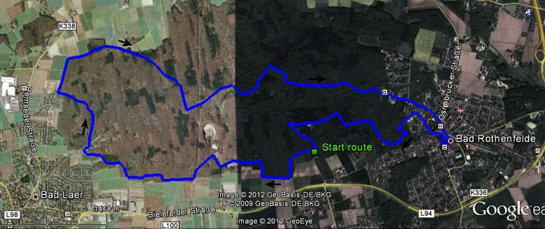 routekaart rondwandeling Bad Rothenfelde - Bad Laer