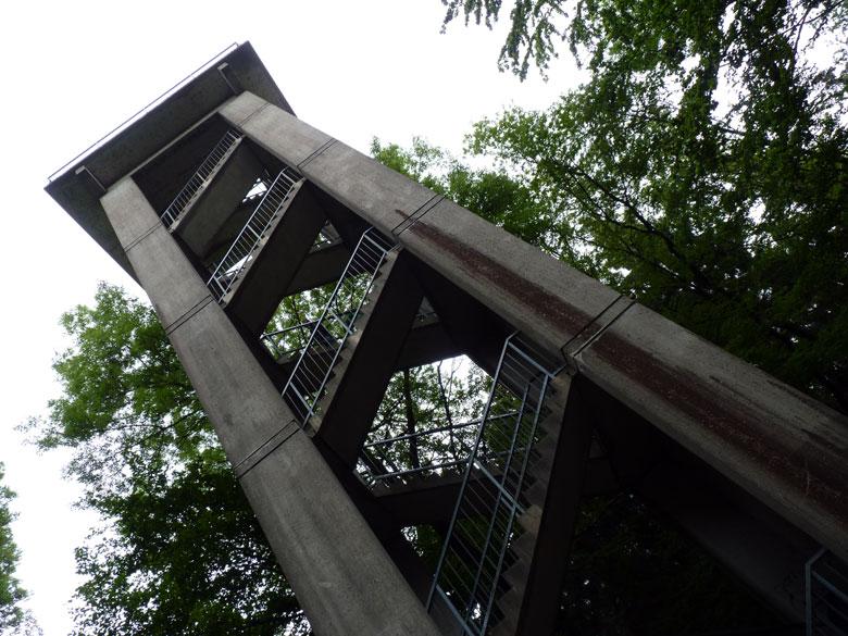 op 208m de uitzichttoren met helaas maar weinig uitzicht