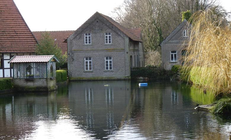 we steken de Hagenbach over tussen watermolen en vijver