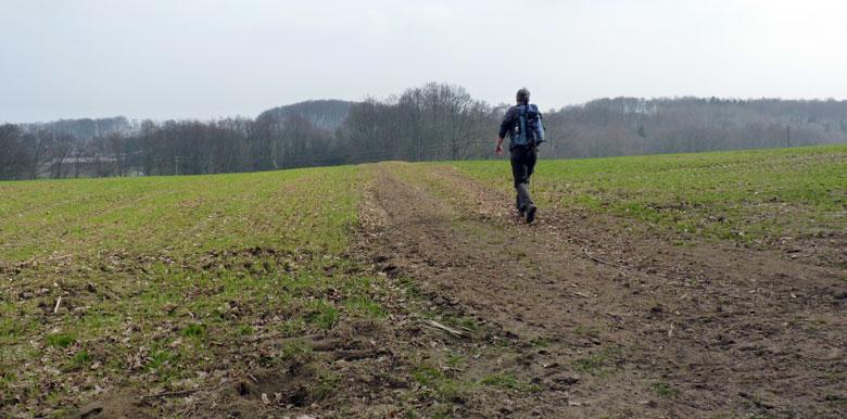 een vaag pad haaks linksaf richting de hoogspanningslijnen