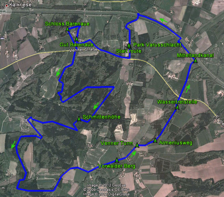 routekaart rondwandeling Engter Kalkrieser Berg