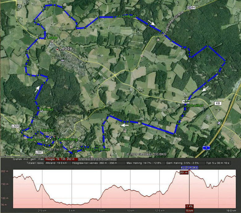rondwandeling routekaart Tecklenburg