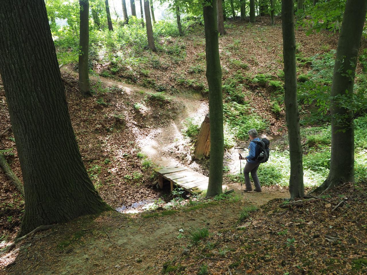 een kloof met waterloopje oversteken