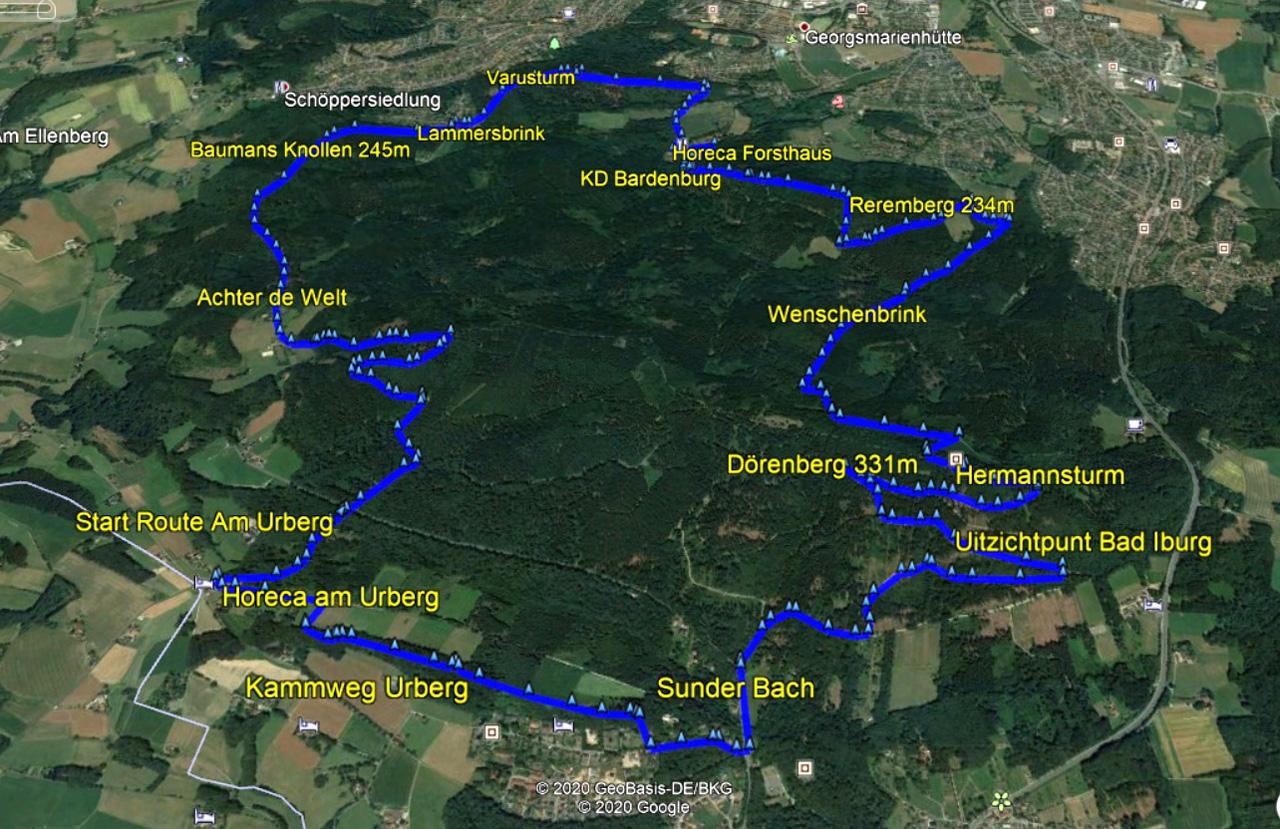 routekaart rondwandeling Bad Iburg
