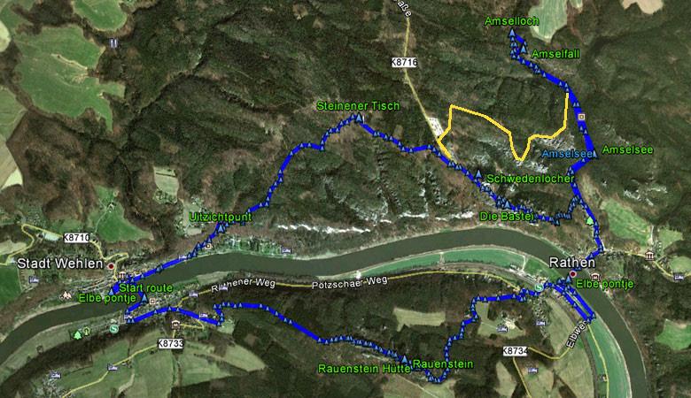 routekaart Bastei en Rauenstein