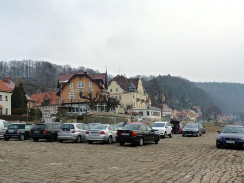 Stadt Wehlen, parkeerplaats aan de Elbe