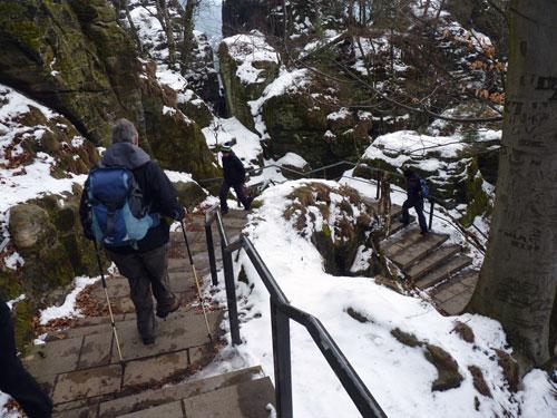 Bastei afdaling via een mooie trap