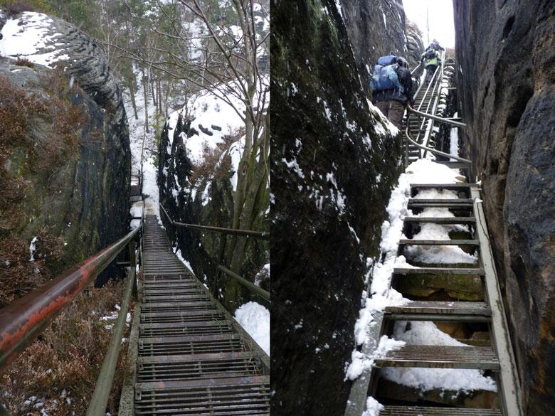 een welhaast oneindig lange trap tussen twee rotspieken