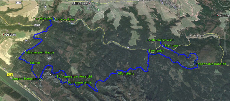 routekaart Kuhstall en Schrammstein rondwandeling