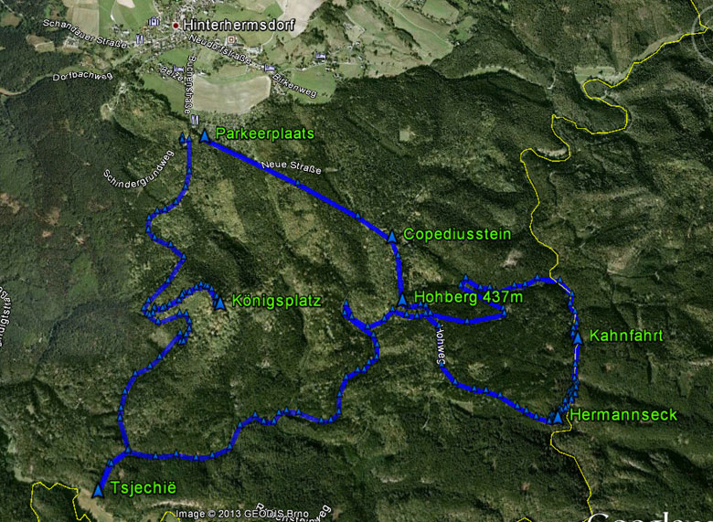 routekaart Hinterhermsdorf