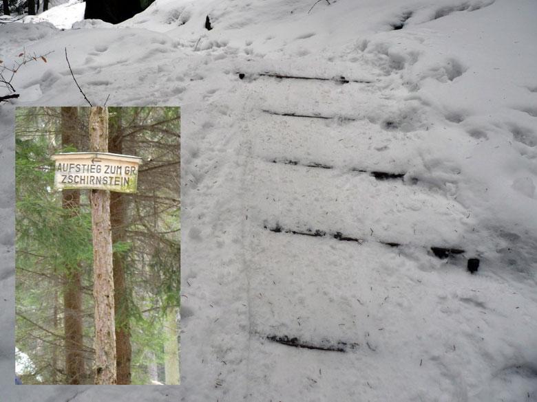 verijsde traptreden aan het begin van de Steig
