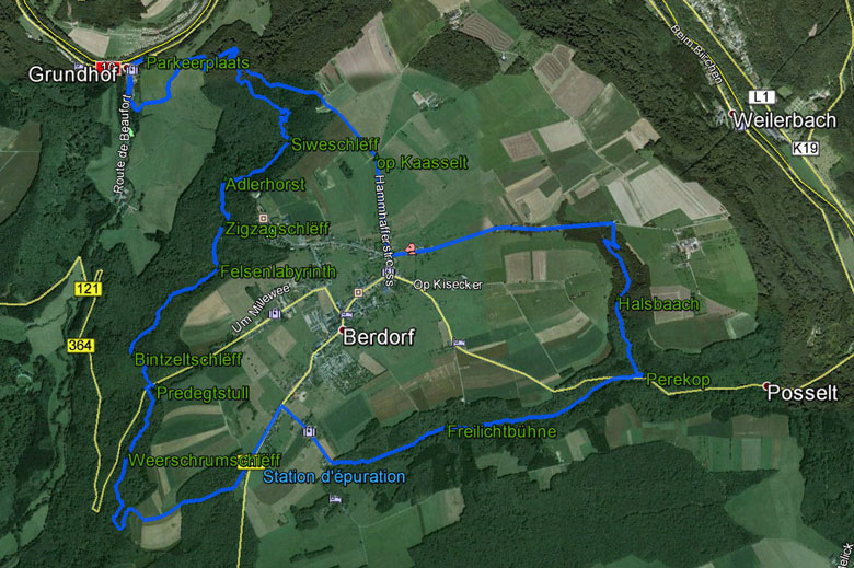 routekaart Mullerthal rondwandeling