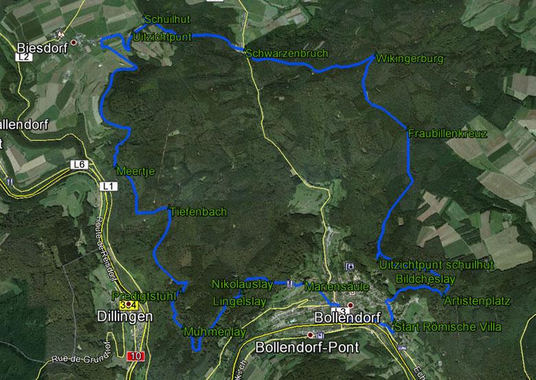 routekaart rondwandeling Bollendorf Eifel