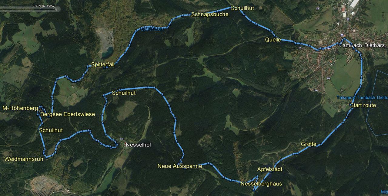 routekaart rondwandeling Tambach-Dietharz