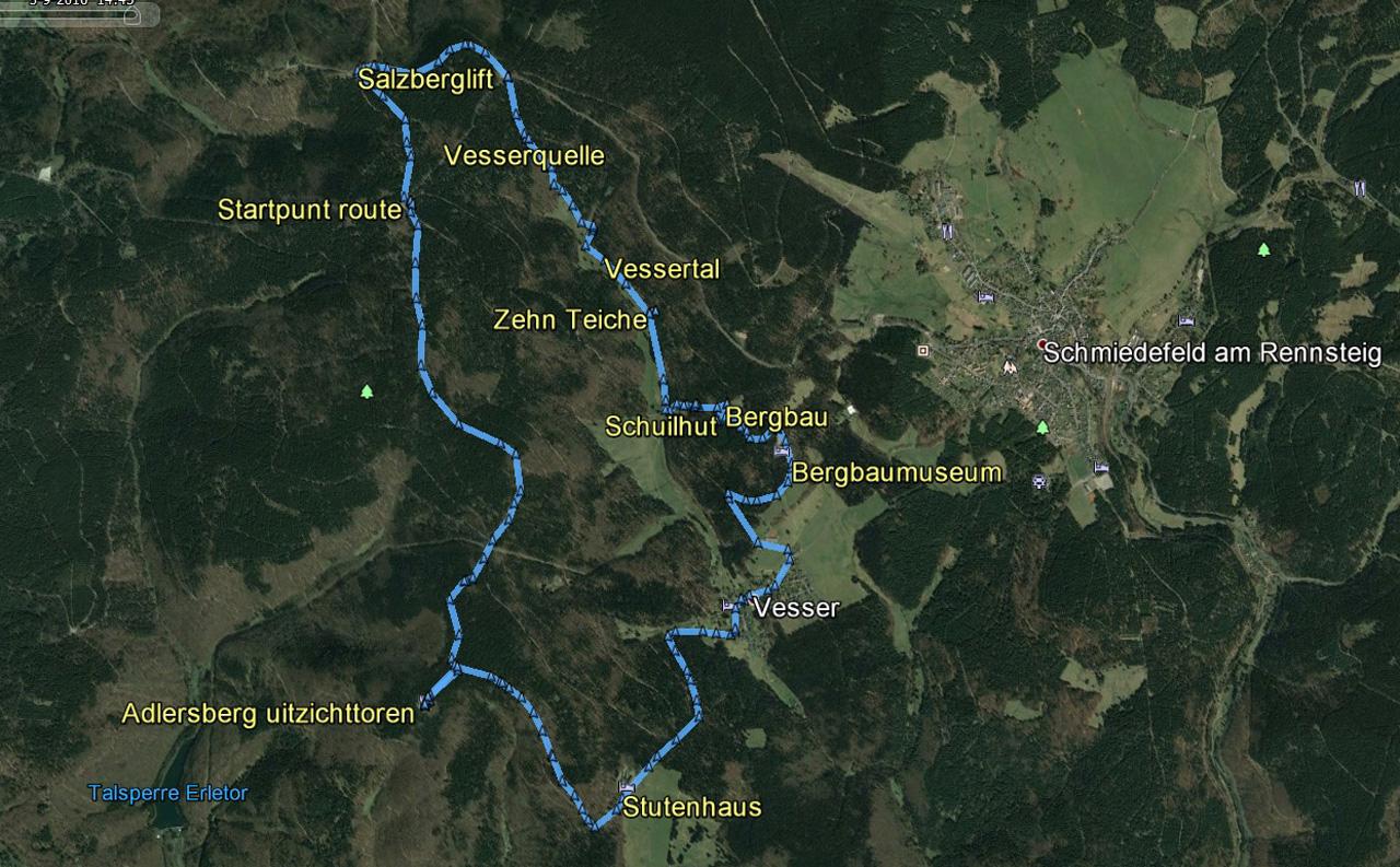 routekaart rondwandeling Vessertal Suhl Schmiedefeld