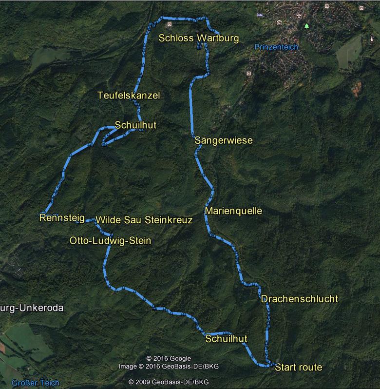 routekaart rondwandeling Eisenach Drachenschlucht en Schloss Wartburg