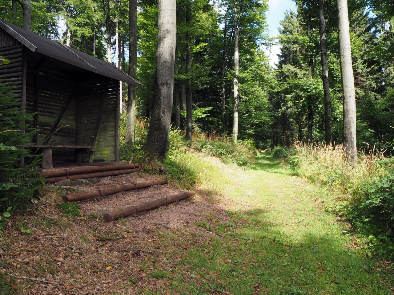 schuilhut op de flank van de Inselsberg
