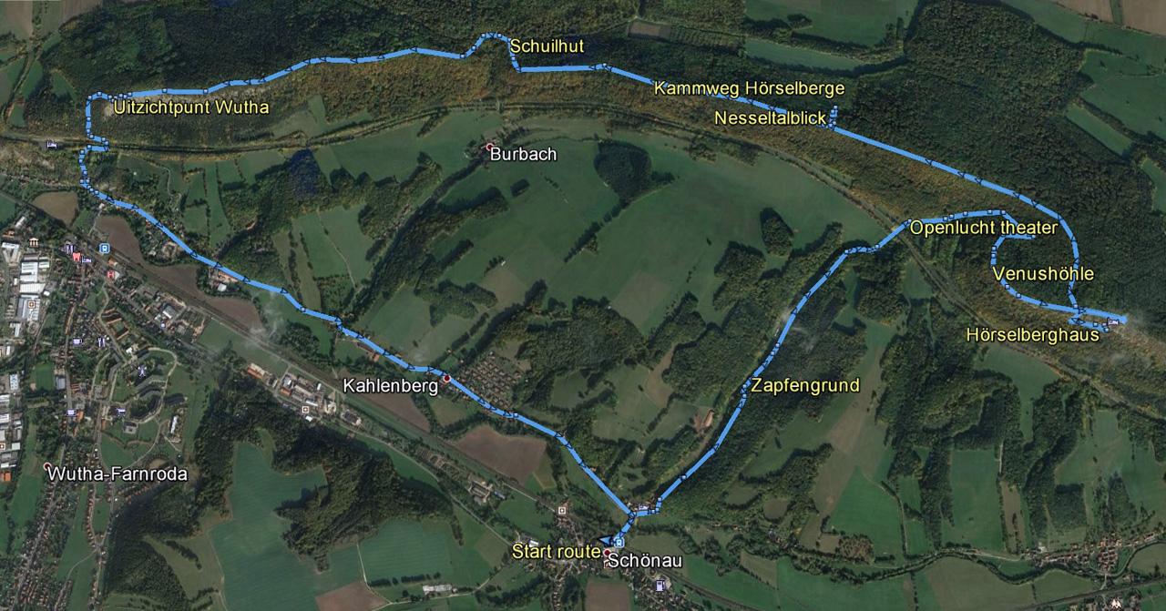 routekaart Wutha Hörselberge rondwandeling