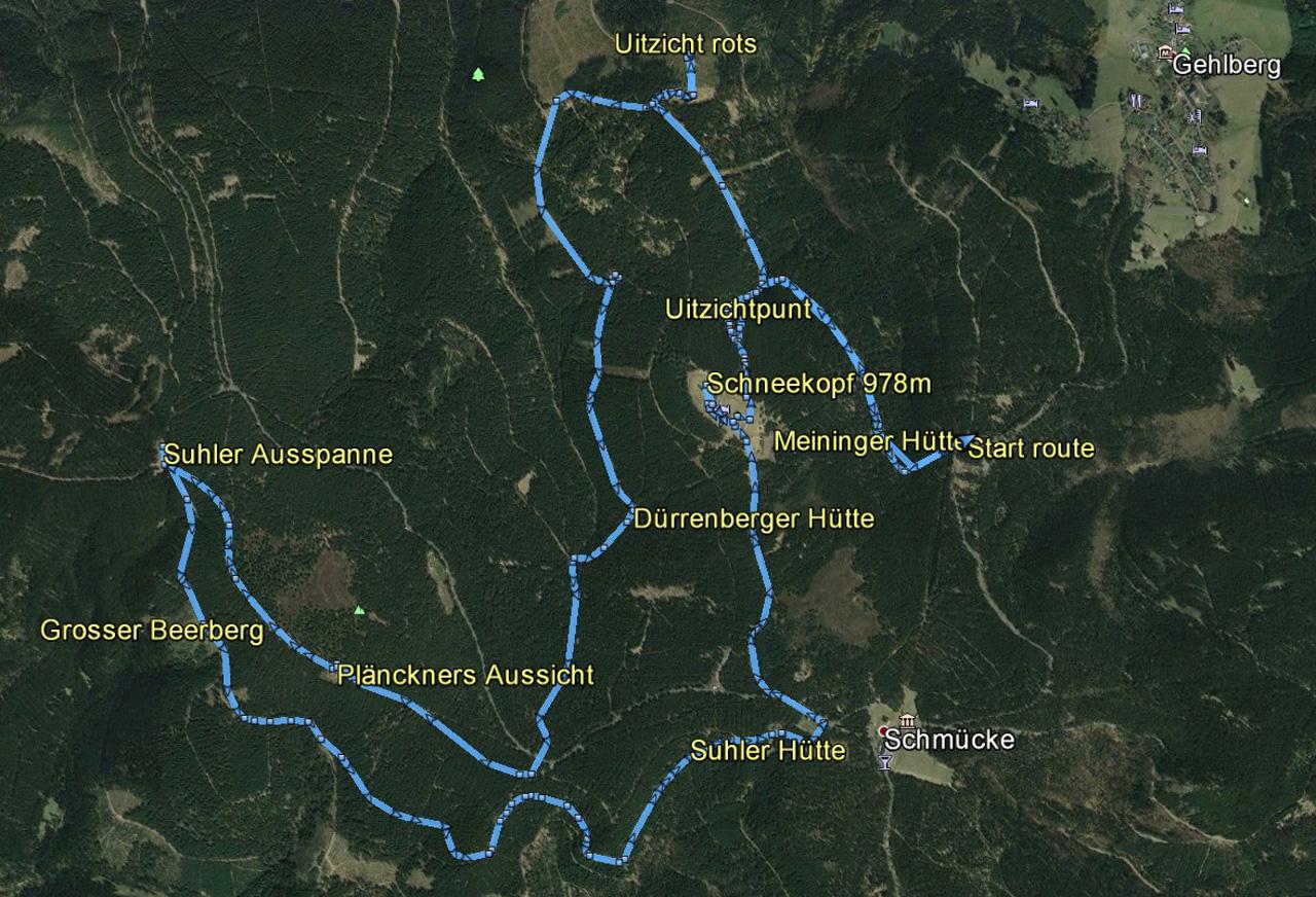 routekaart rondwandeling Schneekopf Gehlberg