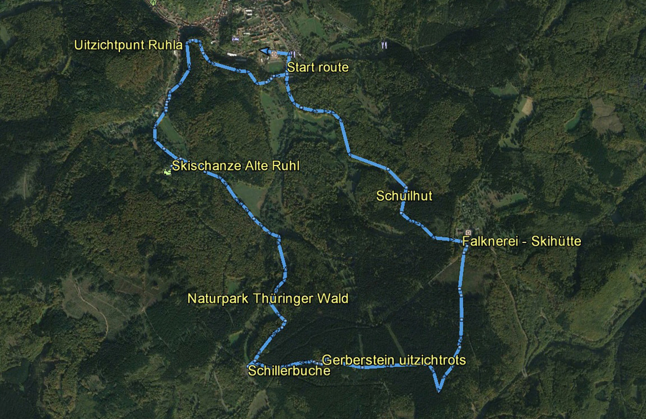 routekaart rondwandeling Ruhla Gerberstein