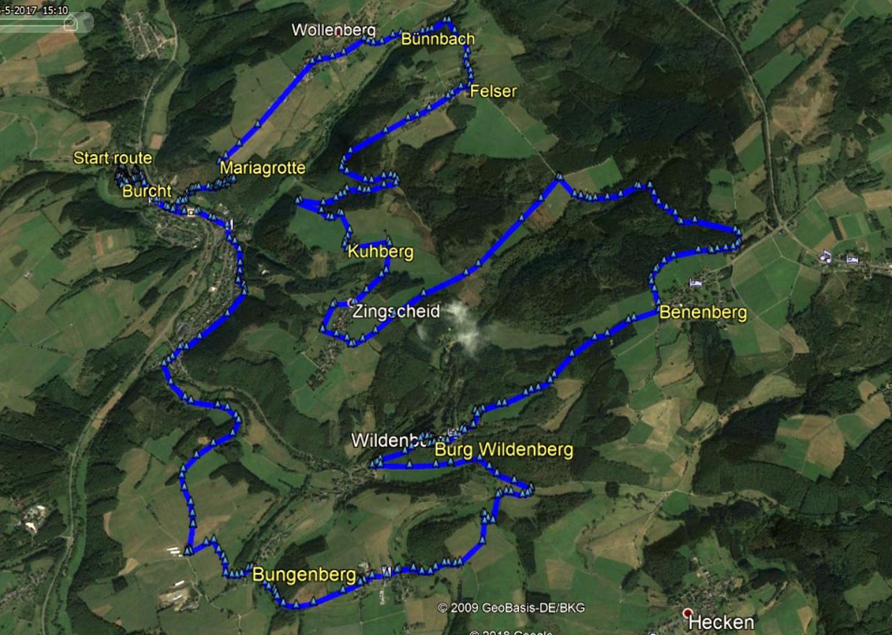 routekaart rondwandeling Reifferscheid Hellenthal