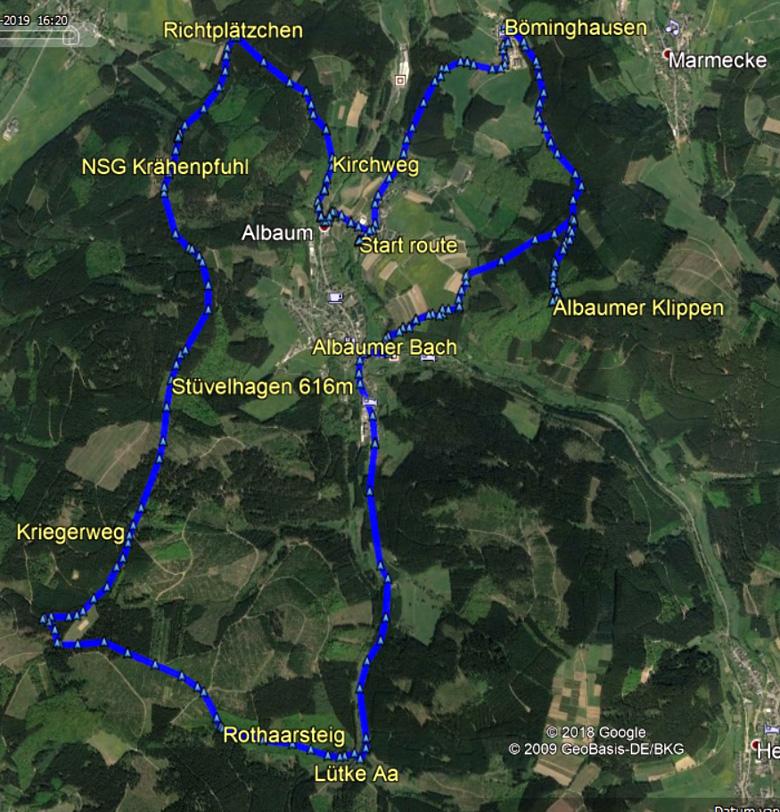 routekaart rondwandeling Albaum Krähenpfuhl Sauerland