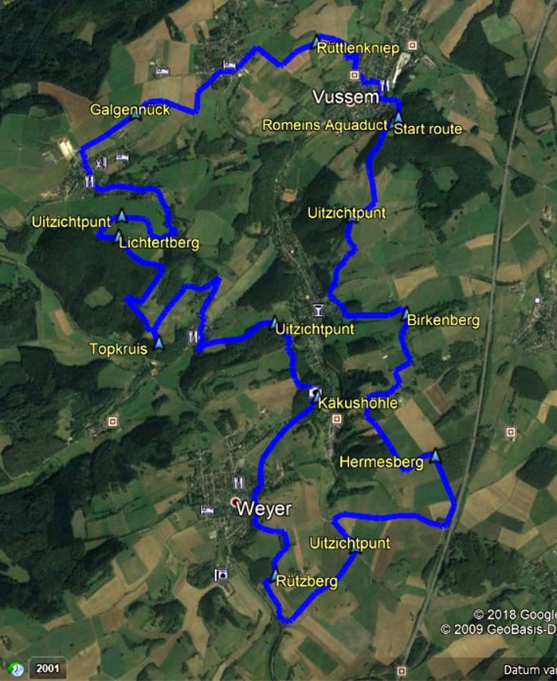 routekaart rondwandeling Vussem Eifel