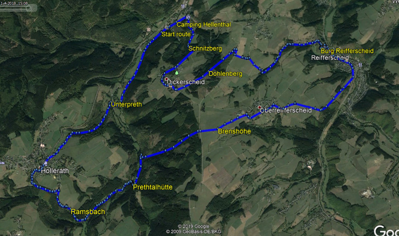 Routekaart rondwandeling Hellenthal