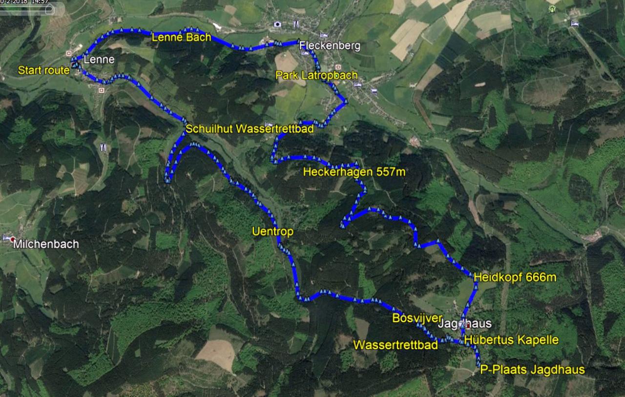 routekaart rondwandeling Lenne Jaghaus Sauerland