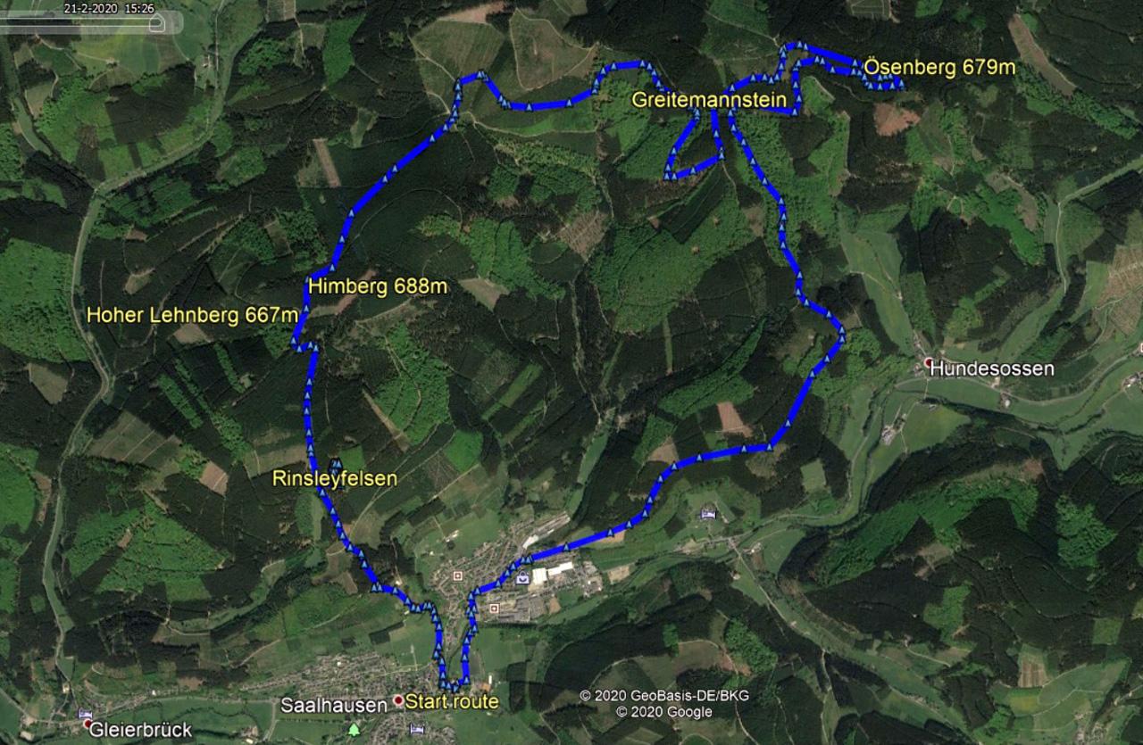 routekaart rondwandeling Saalhausen Sauerland