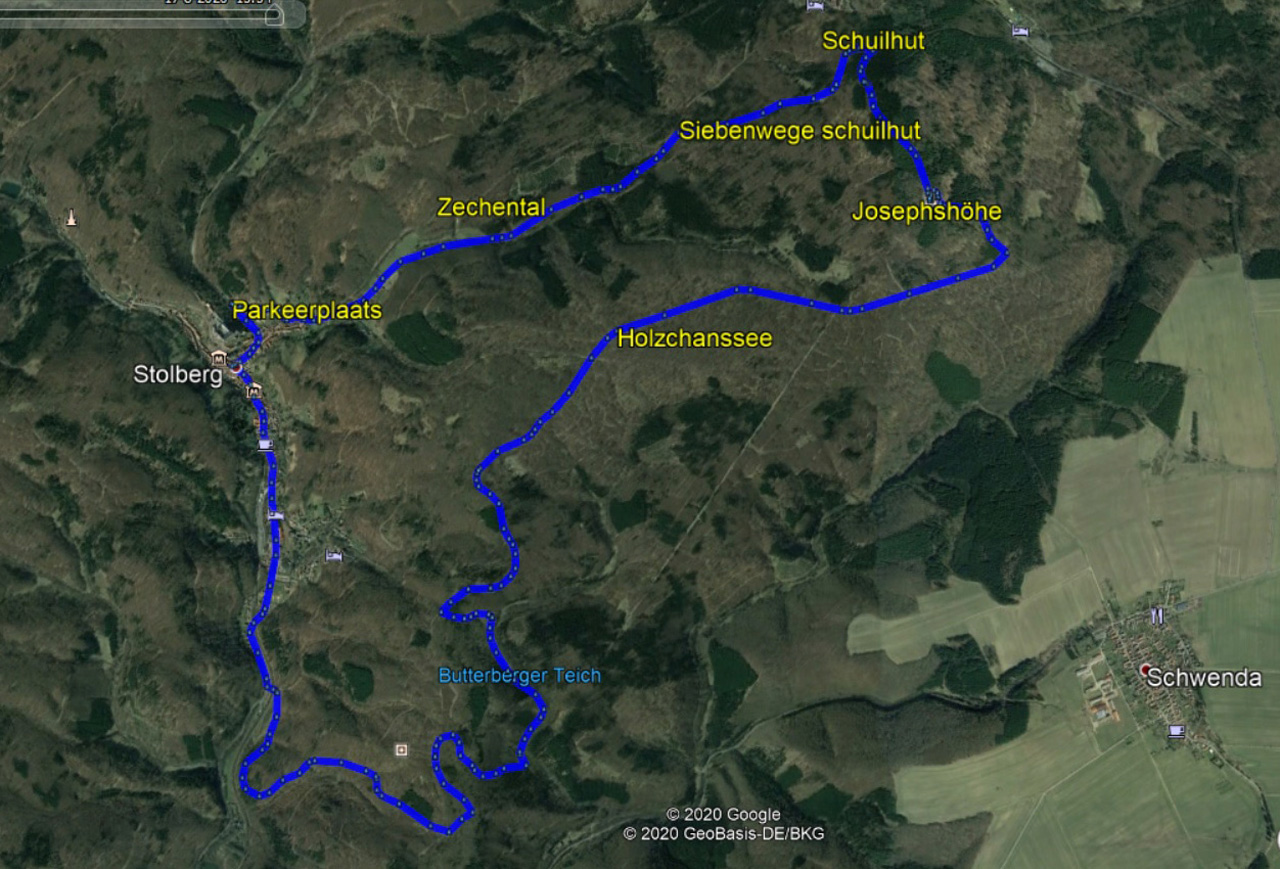 routekaart rondwandeling Stolberg Harz