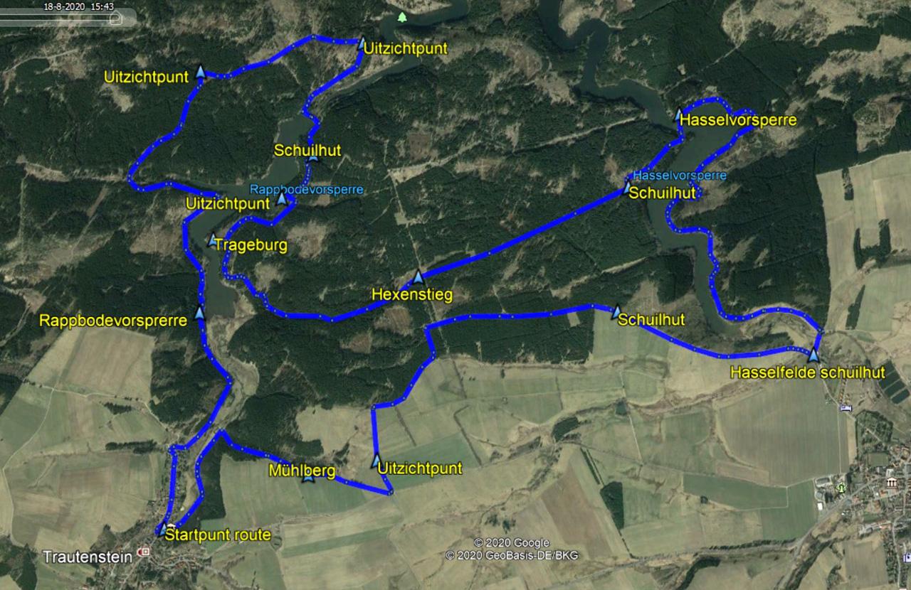 routekaart rondwandeling Trautenstein stuwmeren Hasselfelde