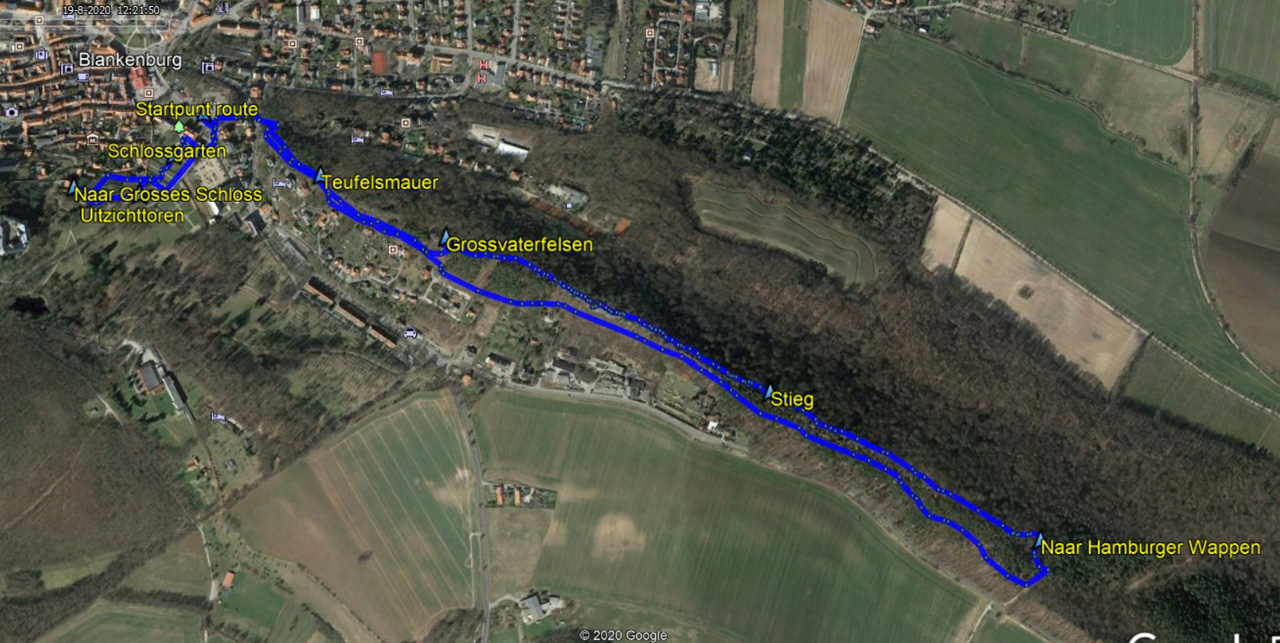 routekaart rondwandeling Teufelsmauer Blankenburg