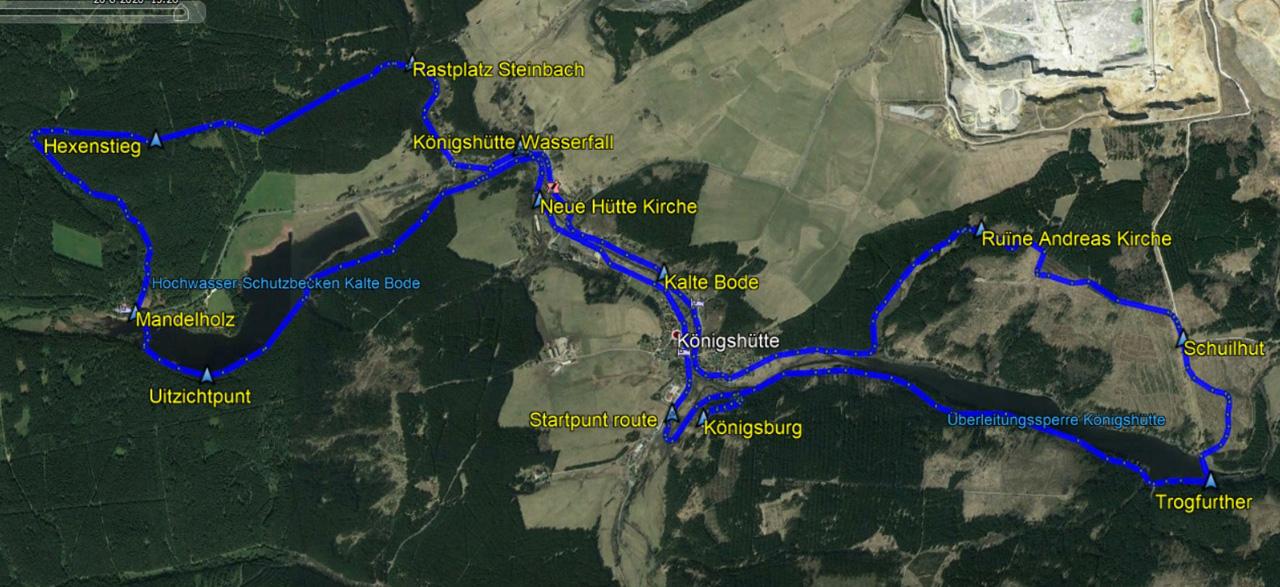 routekaart rondwandeling Königshütte Harz