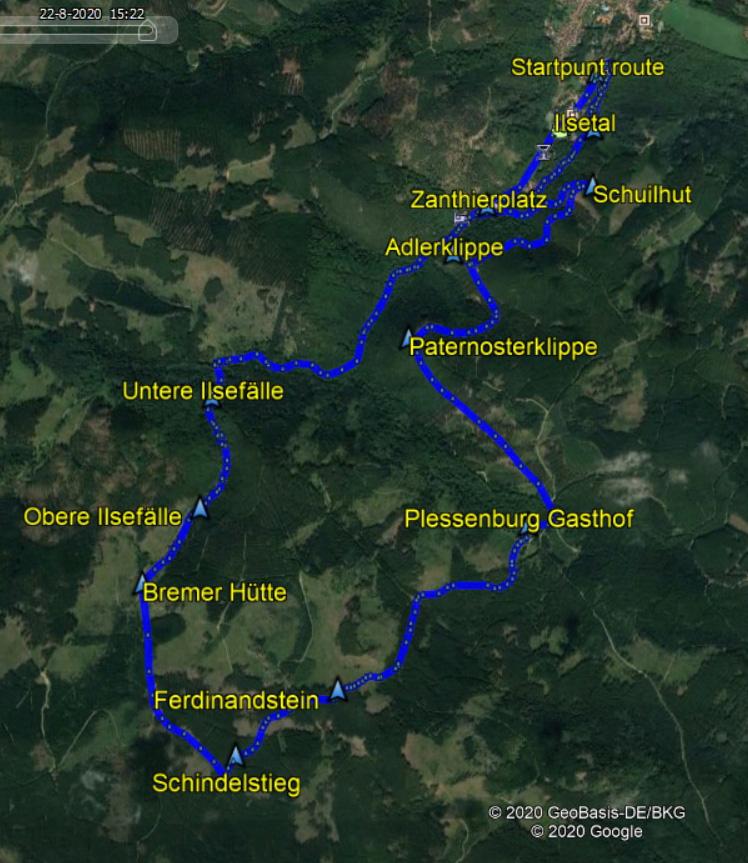 routekaart rondwandeling Ilsetal en Schindelstieg